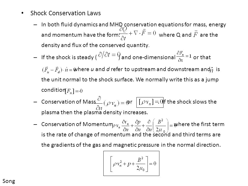 Shock Conservation Laws