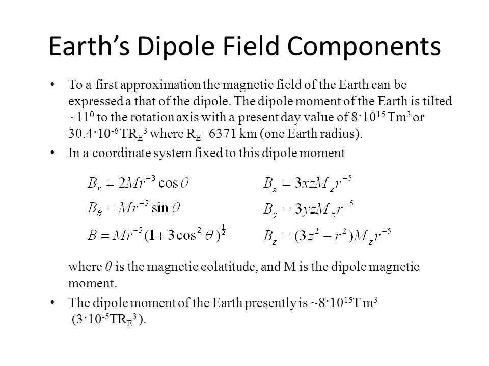 Earth's Dipole Field Components