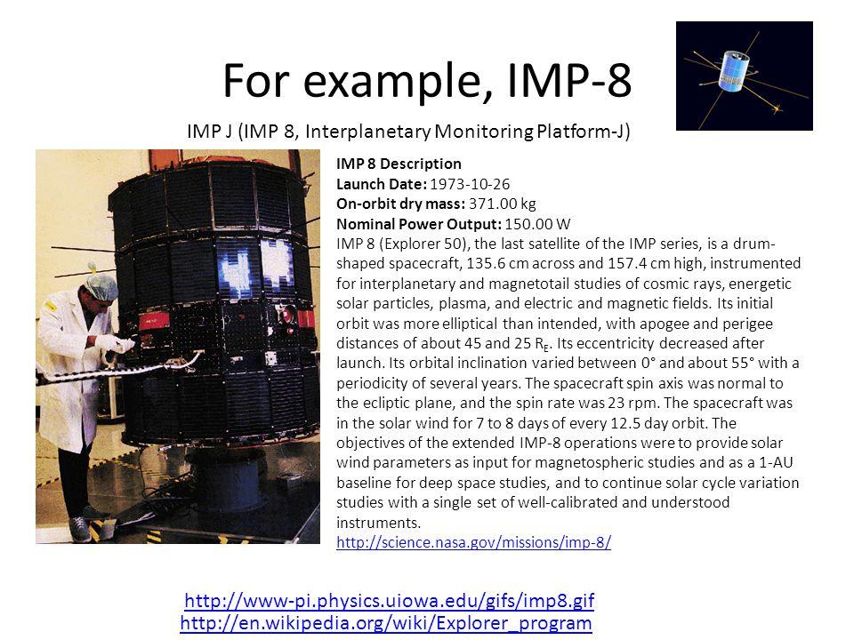 For example, IMP-8 IMP J (IMP 8, Interplanetary Monitoring Platform-J)