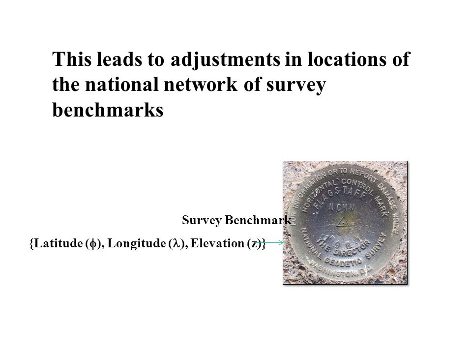 This leads to adjustments in locations of the national network of survey benchmarks