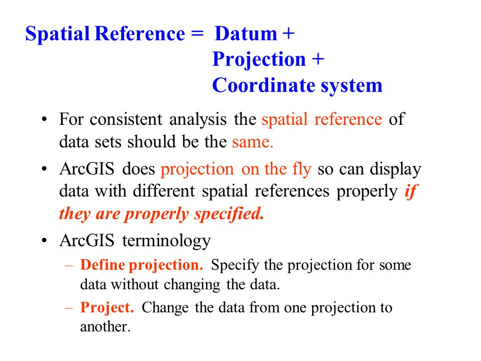 Spatial Reference = Datum + Projection + Coordinate system