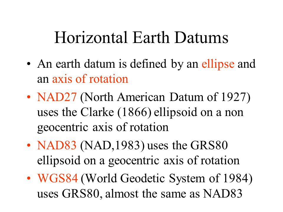 Horizontal Earth Datums