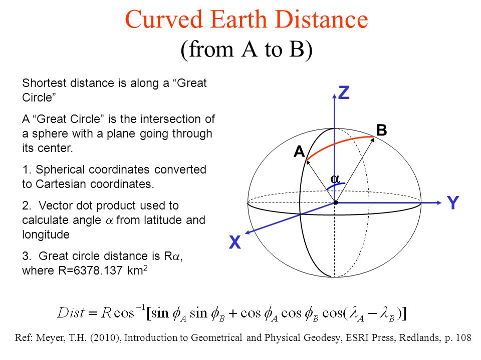 Curved Earth Distance (from A to B)