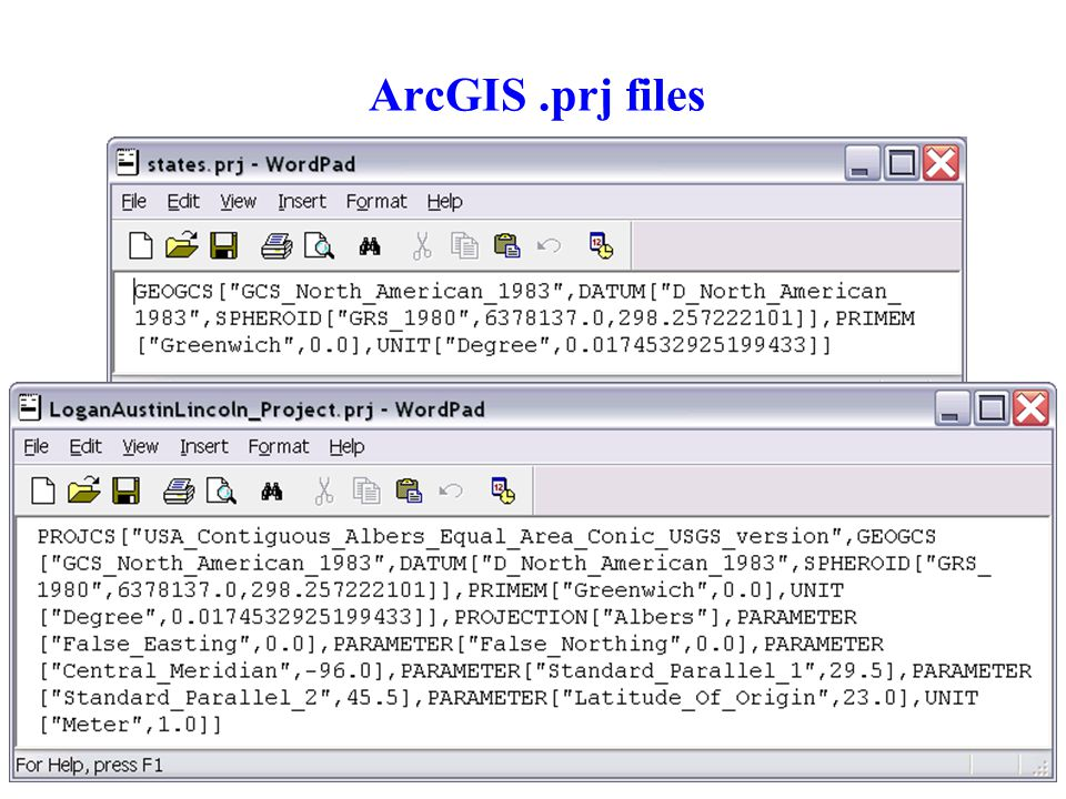 ArcGIS .prj files