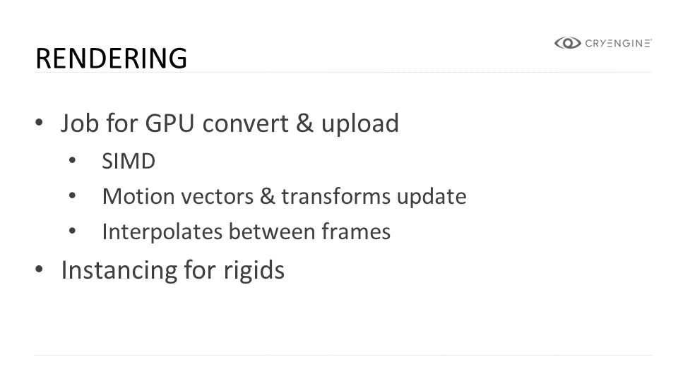 Rendering Job for GPU convert & upload Instancing for rigids SIMD