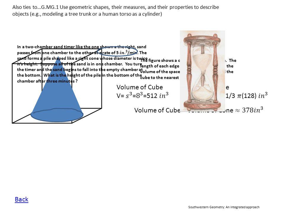 Volume of Cube – Volume of Cone ≈378 𝑖𝑛 3
