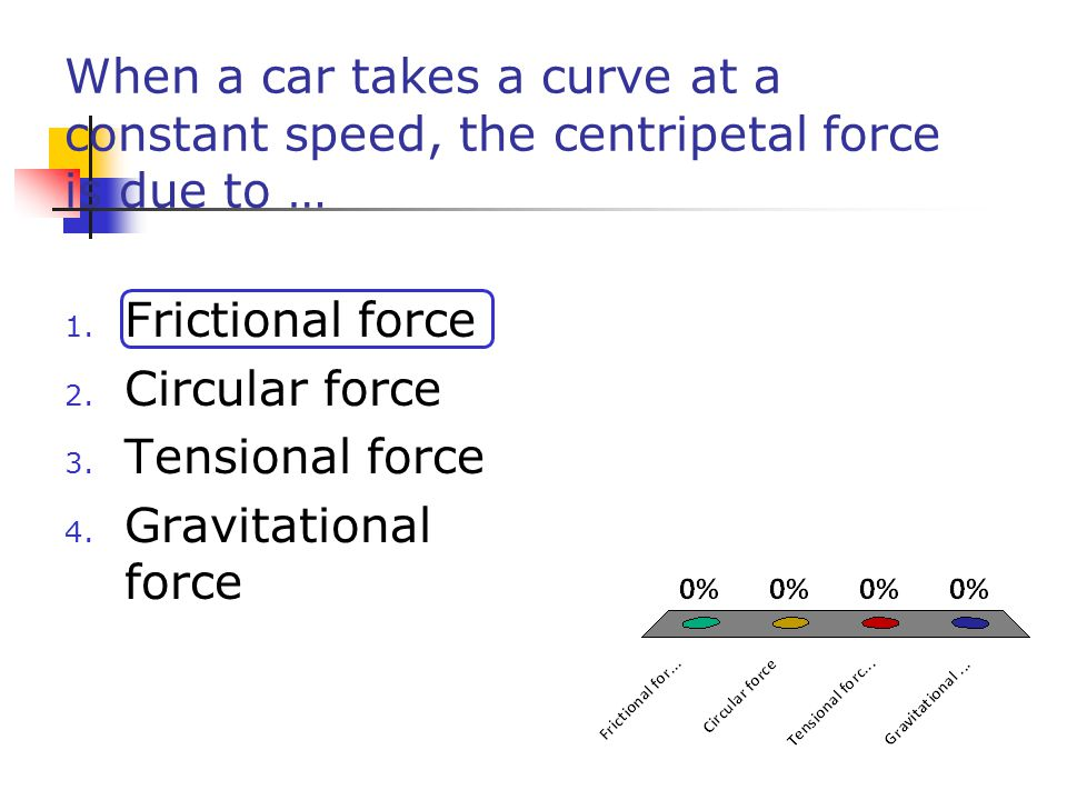 When a car takes a curve at a constant speed, the centripetal force is due to …
