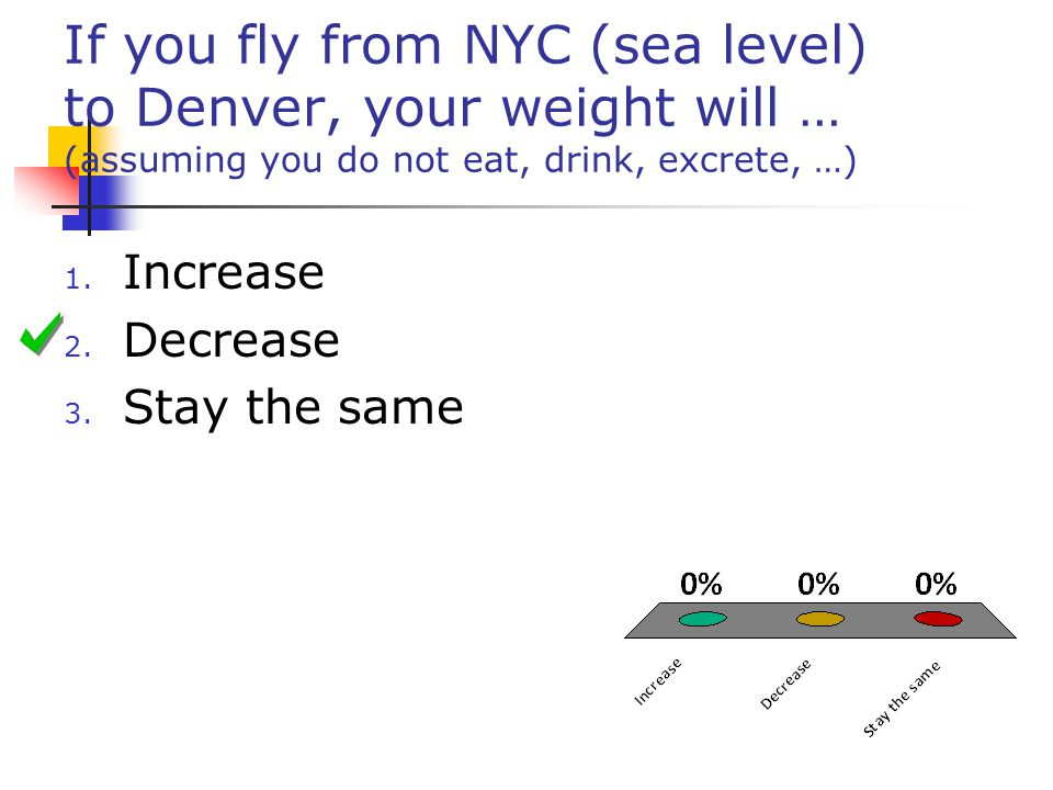If you fly from NYC (sea level) to Denver, your weight will … (assuming you do not eat, drink, excrete, …)