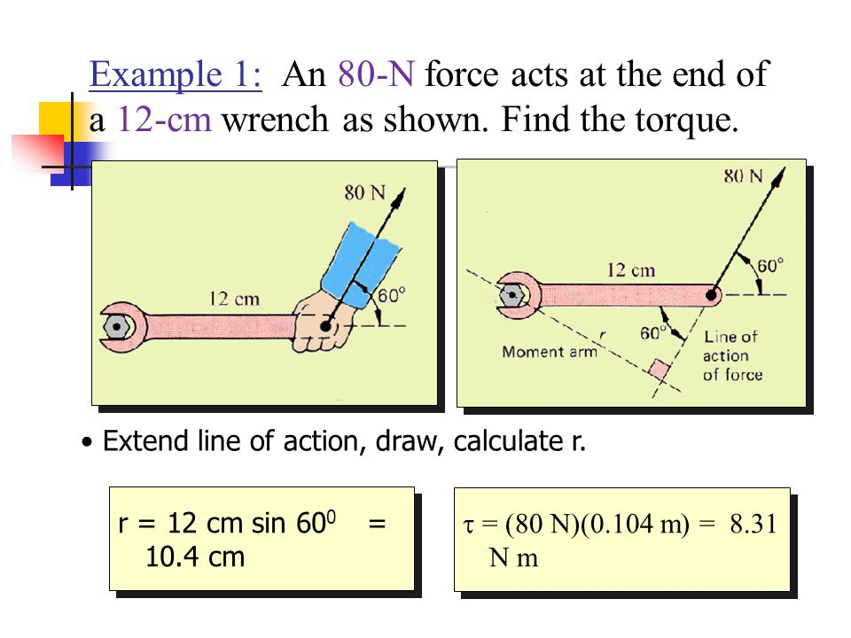Example 1: An 80-N force acts at the end of a 12-cm wrench as shown