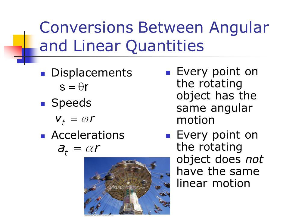 Conversions Between Angular and Linear Quantities