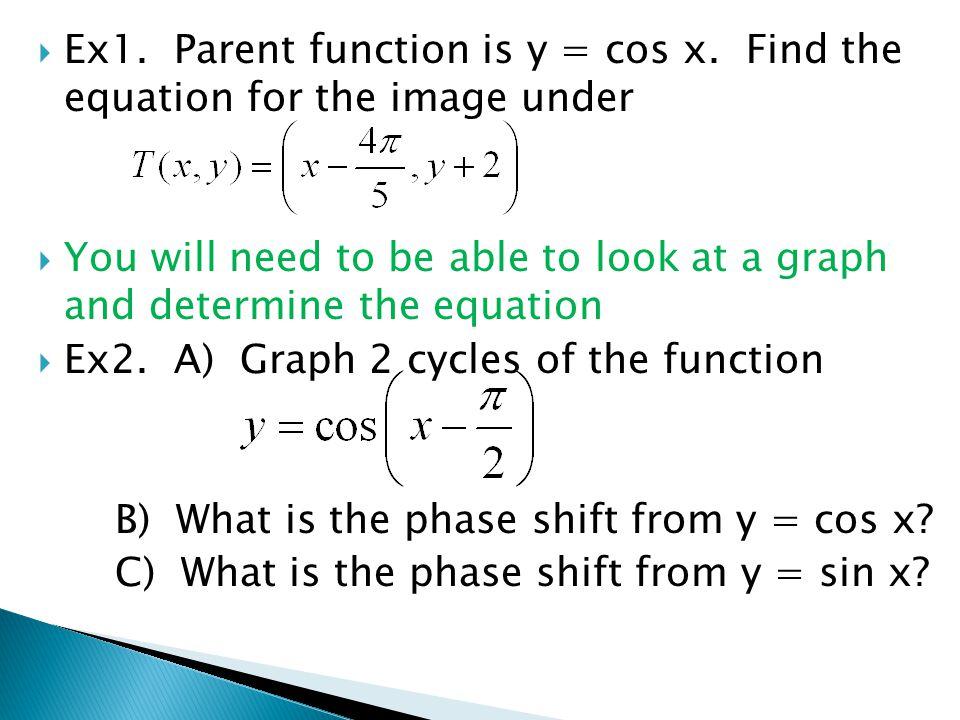 Ex1. Parent function is y = cos x