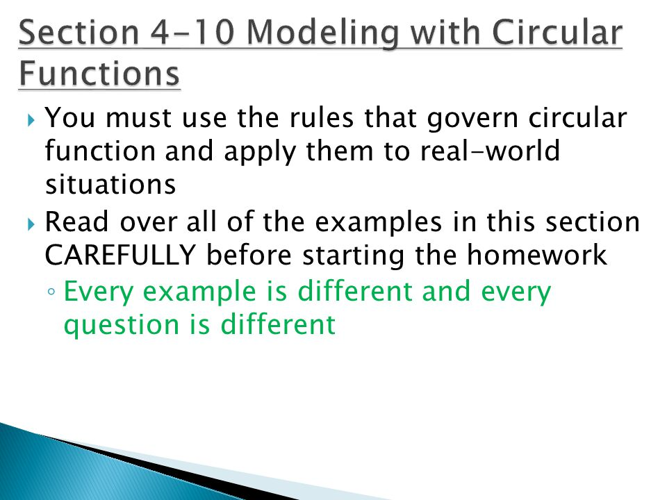 Section 4-10 Modeling with Circular Functions