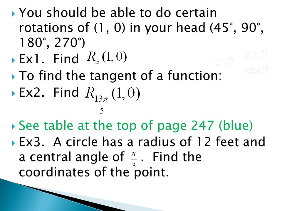 You should be able to do certain rotations of (1, 0) in your head (45°, 90°, 180°, 270°)