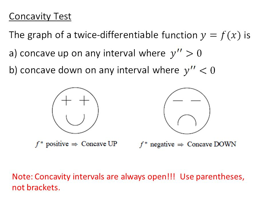 Note: Concavity intervals are always open