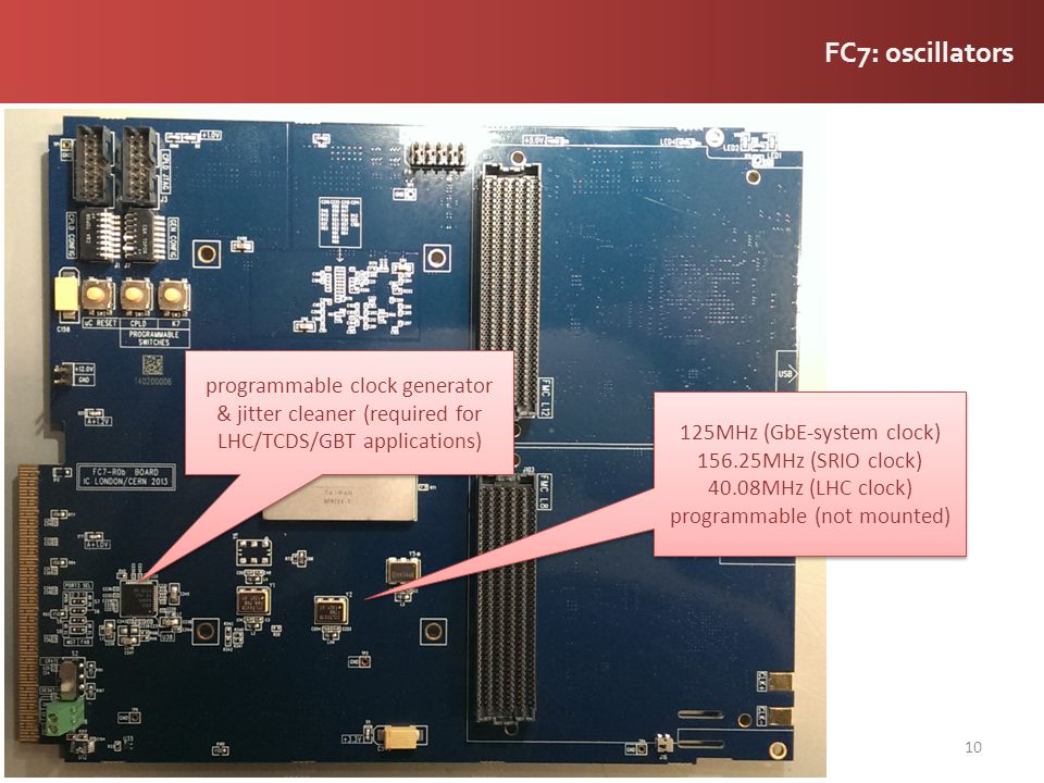 FC7: oscillators programmable clock generator & jitter cleaner (required for LHC/TCDS/GBT applications)