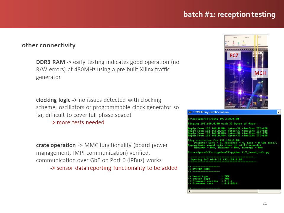 batch #1: reception testing