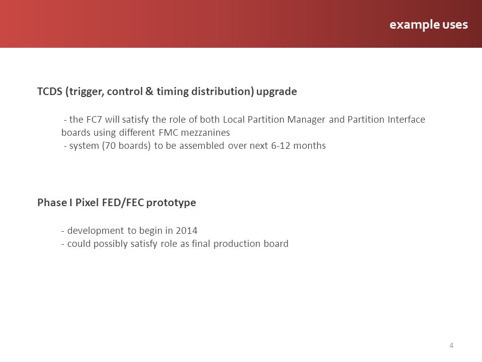 example uses TCDS (trigger, control & timing distribution) upgrade