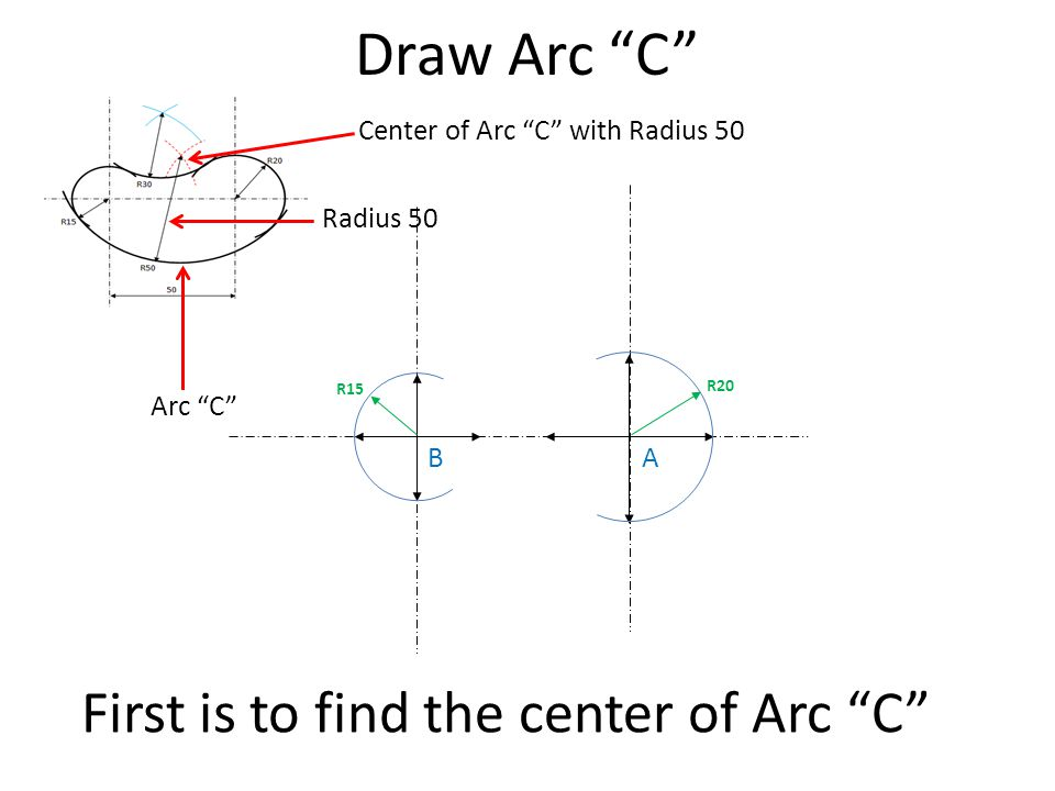 First is to find the center of Arc C