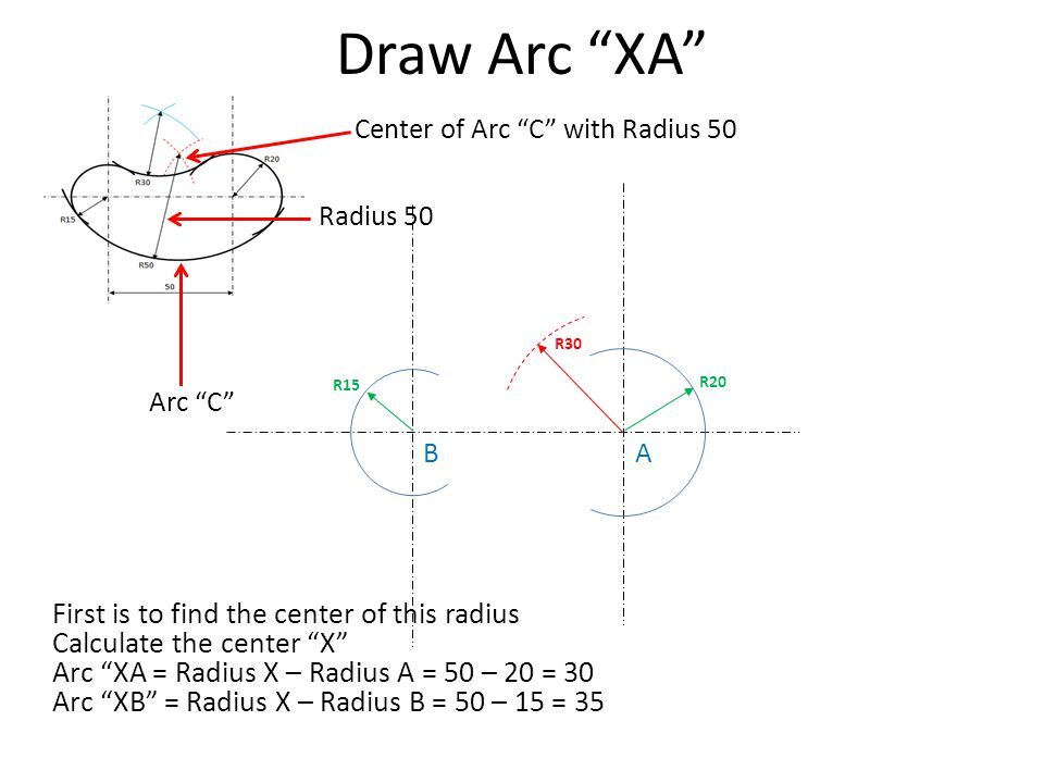 Draw Arc XA First is to find the center of this radius
