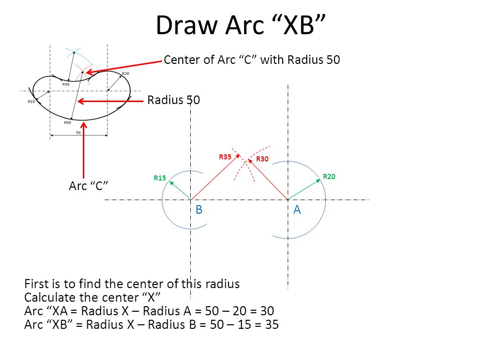 Draw Arc XB First is to find the center of this radius