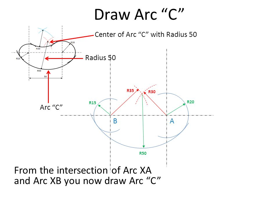 Draw Arc C Center of Arc C with Radius 50. Radius 50. R35. R30. R15. R20. Arc C B. A.