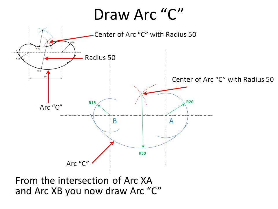 Draw Arc C Center of Arc C with Radius 50. Radius 50. Center of Arc C with Radius 50. R15.