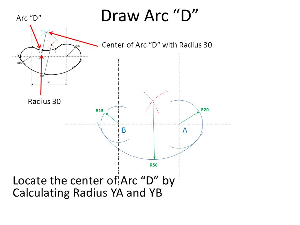 Draw Arc D Arc D Center of Arc D with Radius 30. Radius 30. R15. R20. B. A. R50.