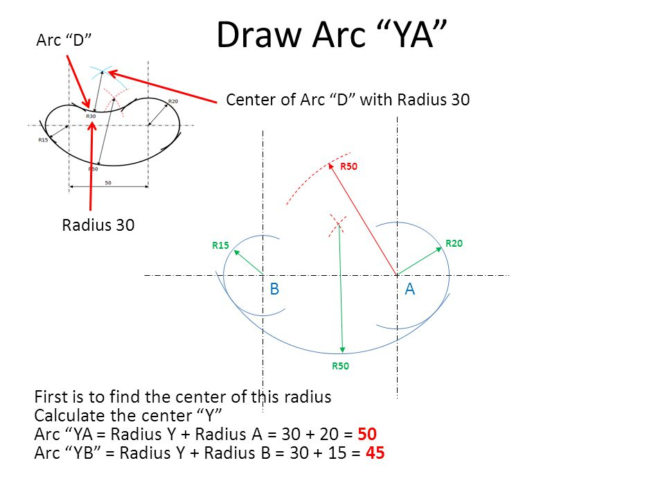 Draw Arc YA First is to find the center of this radius
