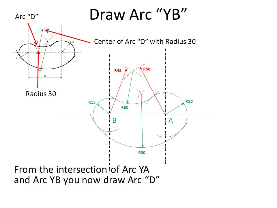 Draw Arc YB Arc D Center of Arc D with Radius 30. R45. R50. Radius 30. R15. R20. R30. B.