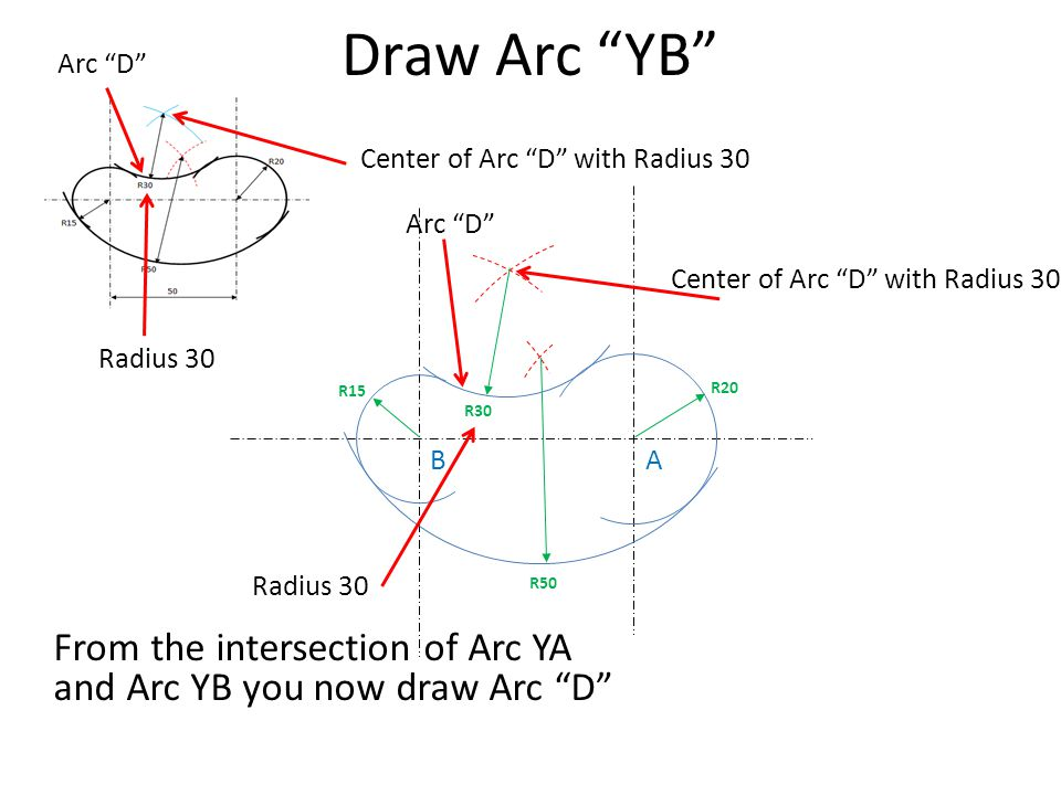 Draw Arc YB Arc D Center of Arc D with Radius 30. Arc D Center of Arc D with Radius 30.