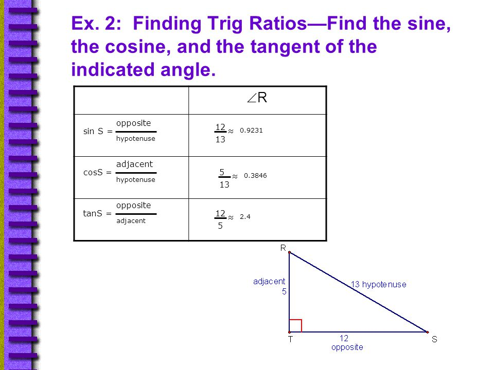 Ex. 2: Finding Trig Ratios—Find the sine, the cosine, and the tangent of the indicated angle.