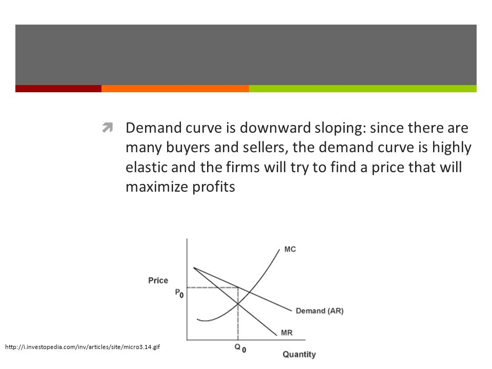 Demand curve is downward sloping: since there are many buyers and sellers, the demand curve is highly elastic and the firms will try to find a price that will maximize profits