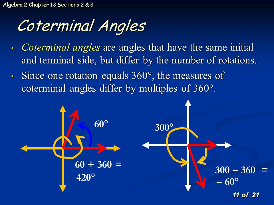 Coterminal Angles Coterminal angles are angles that have the same initial and terminal side, but differ by the number of rotations.
