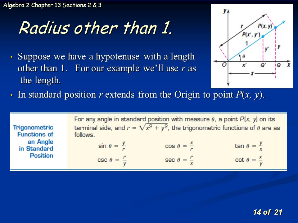 Radius other than 1. Suppose we have a hypotenuse with a length other than 1. For our example we'll use r as the length.