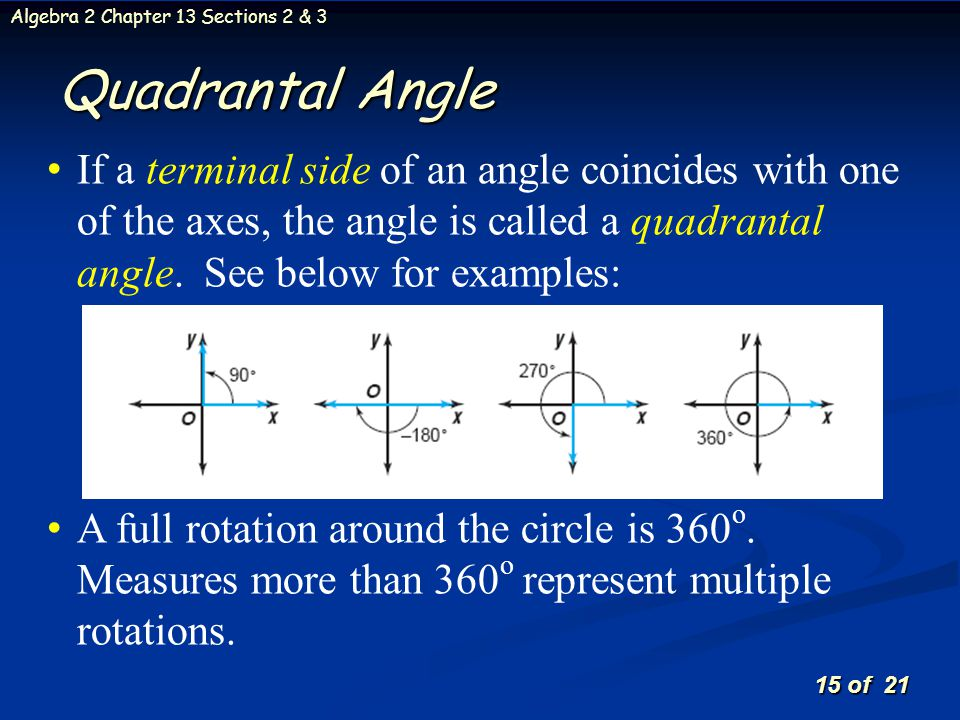 Quadrantal Angle If a terminal side of an angle coincides with one of the axes, the angle is called a quadrantal angle. See below for examples:
