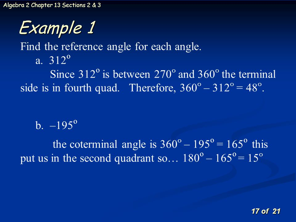 Example 1 Find the reference angle for each angle.