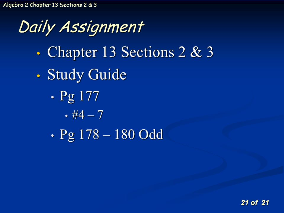 Daily Assignment Chapter 13 Sections 2 & 3 Study Guide Pg 177