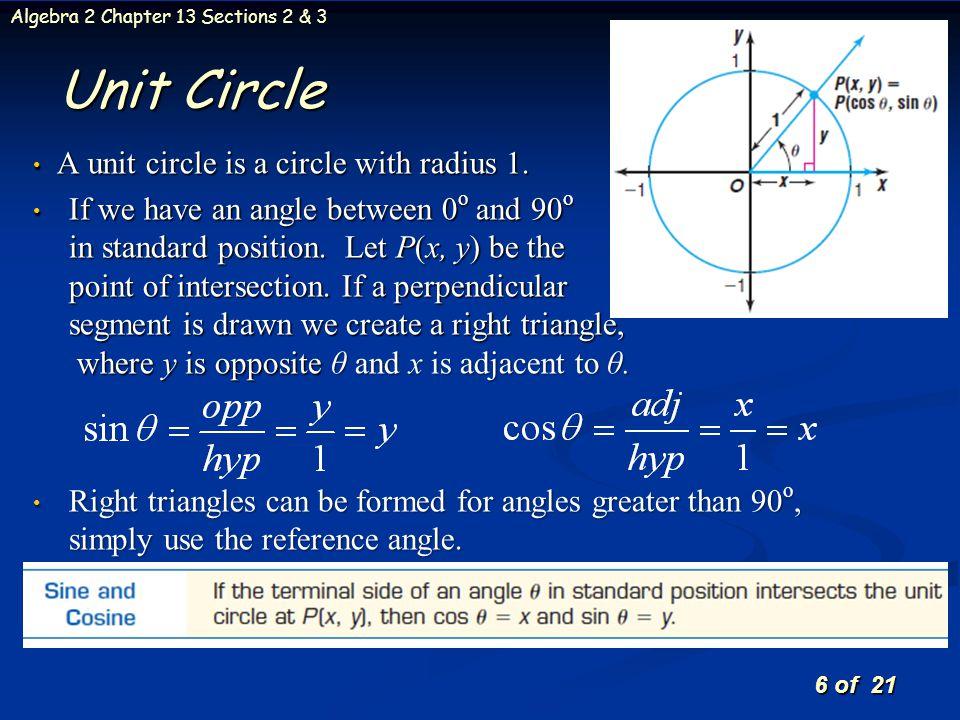 Unit Circle A unit circle is a circle with radius 1.