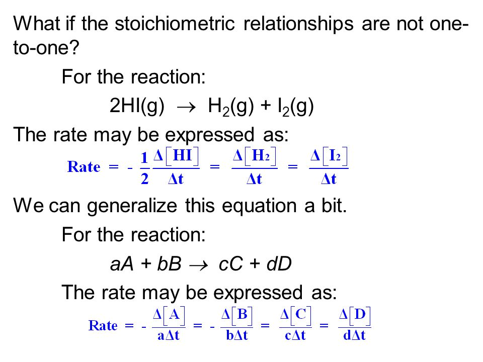 What if the stoichiometric relationships are not one-to-one