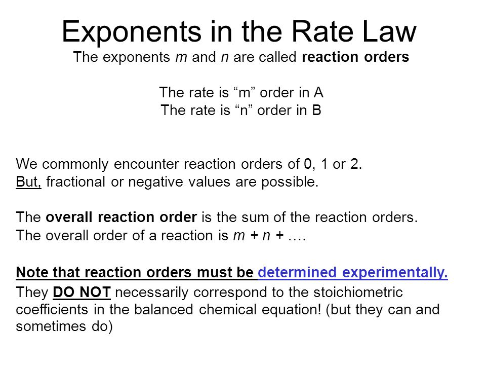 Exponents in the Rate Law