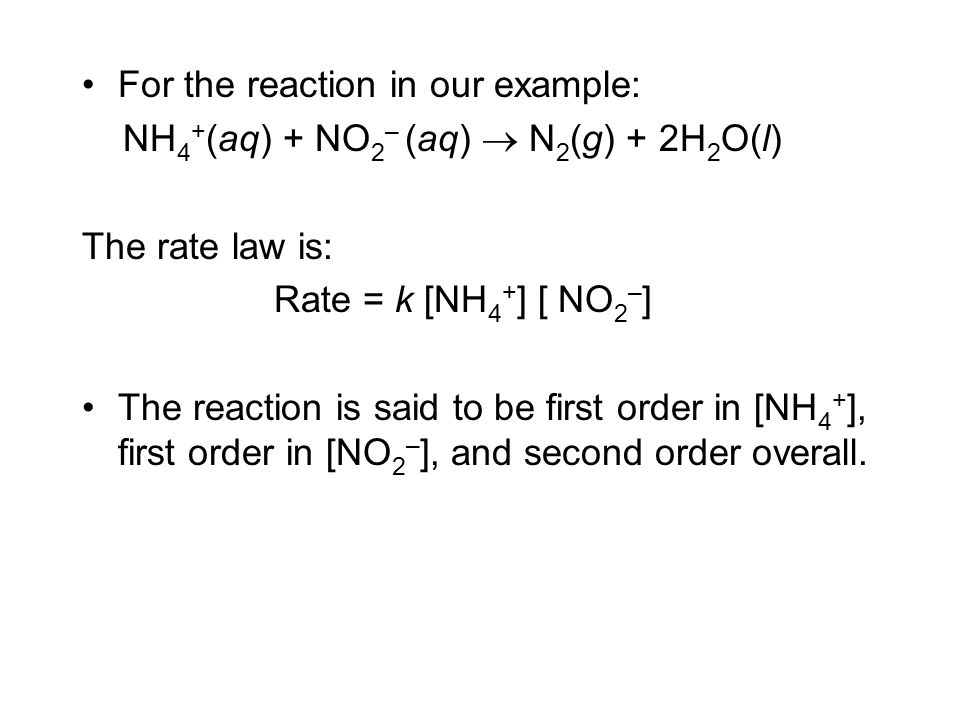 For the reaction in our example: