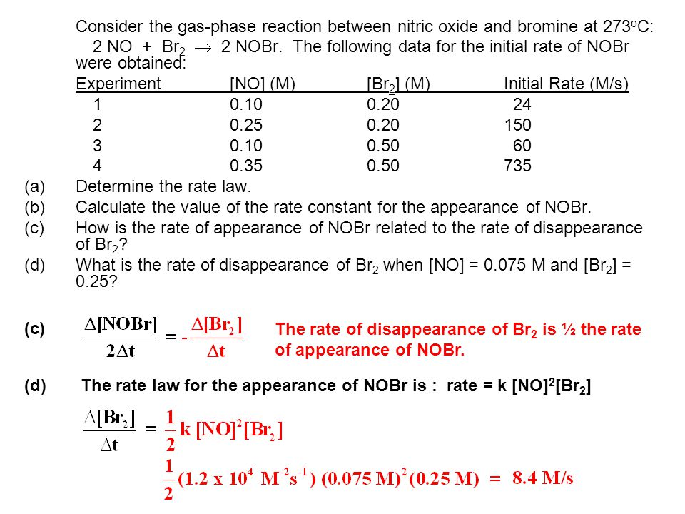 Consider the gas-phase reaction between nitric oxide and bromine at 273oC: