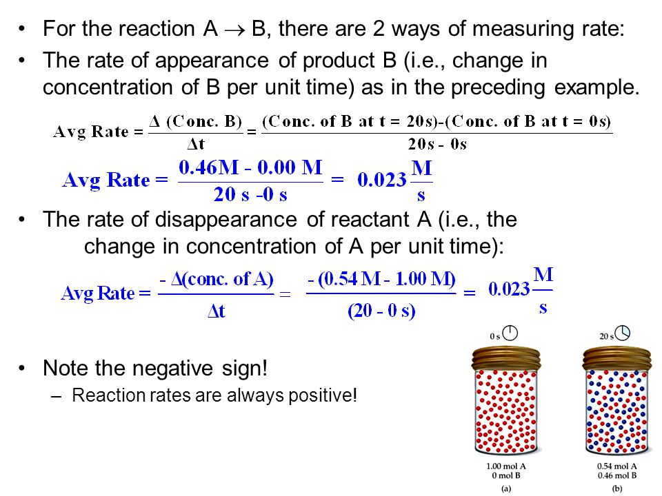 For the reaction A  B, there are 2 ways of measuring rate: