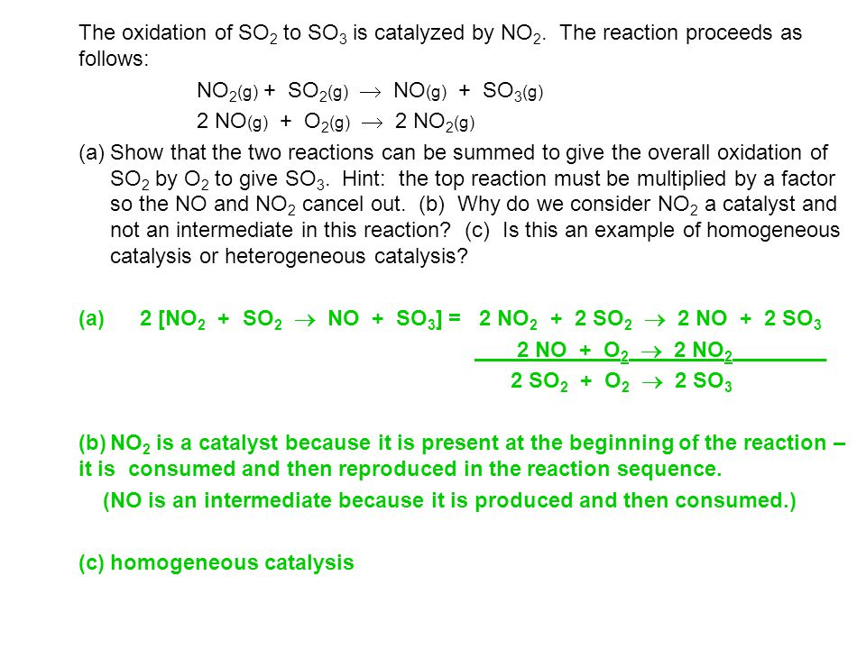 The oxidation of SO2 to SO3 is catalyzed by NO2