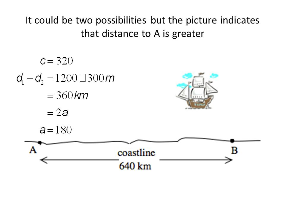It could be two possibilities but the picture indicates that distance to A is greater