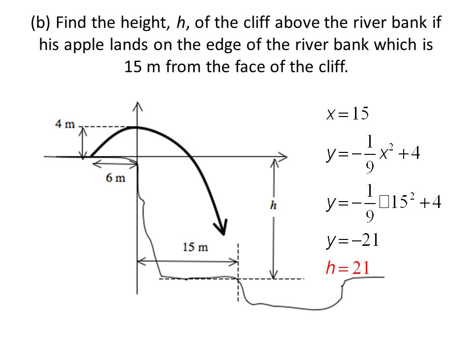 (b) Find the height, h, of the cliff above the river bank if his apple lands on the edge of the river bank which is 15 m from the face of the cliff.