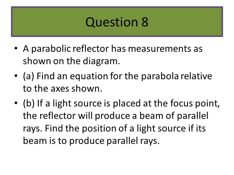 Question 8 A parabolic reflector has measurements as shown on the diagram. (a) Find an equation for the parabola relative to the axes shown.