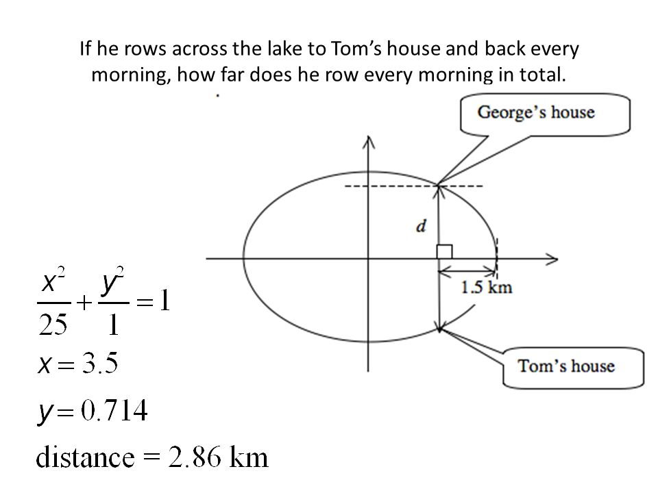 If he rows across the lake to Tom's house and back every morning, how far does he row every morning in total.