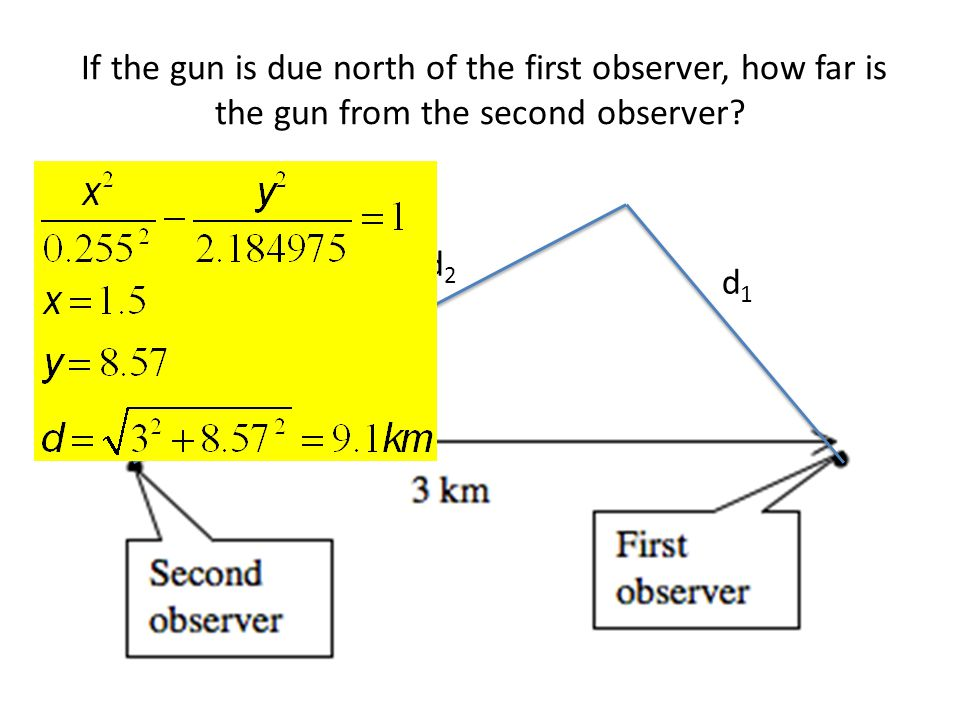 If the gun is due north of the first observer, how far is the gun from the second observer