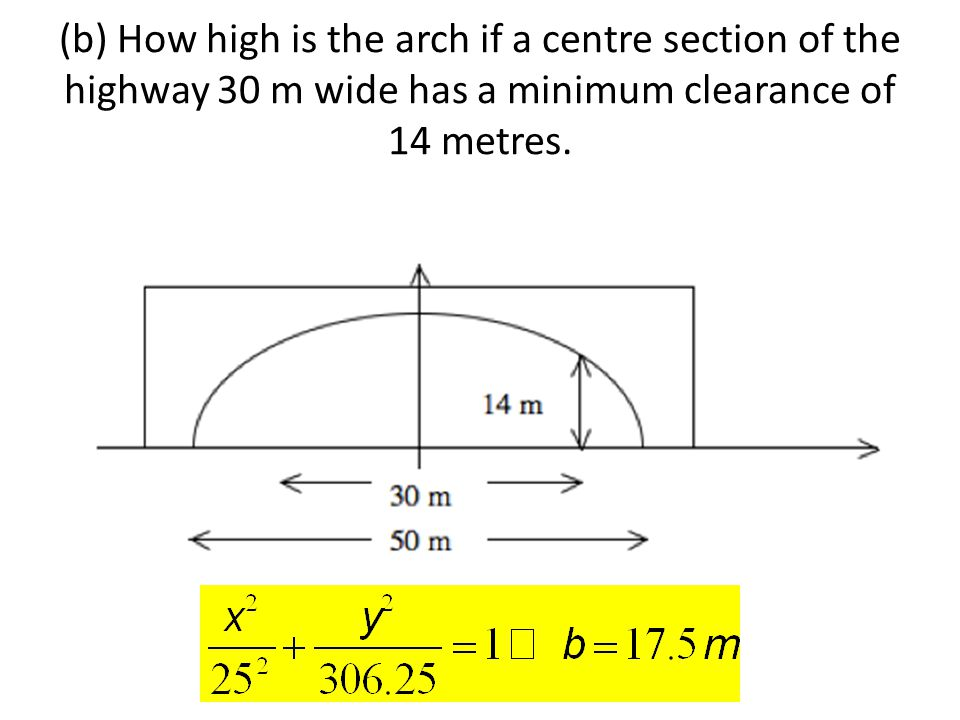 (b) How high is the arch if a centre section of the highway 30 m wide has a minimum clearance of 14 metres.